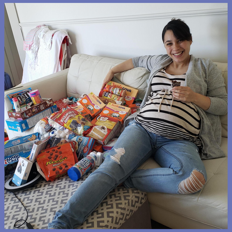 Reina and our latest Comfort Eats snack pile!