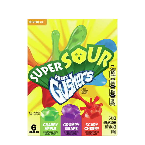 Fruit Gushers Super Sour Fruit Flavored Snacks