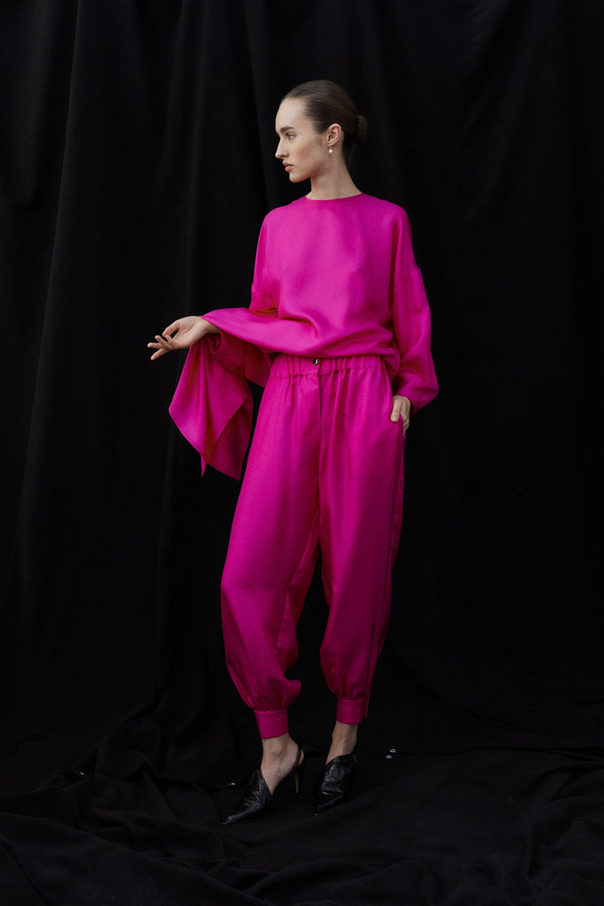 Patmos Silk Twill Harem Pants with Jewel Buttons