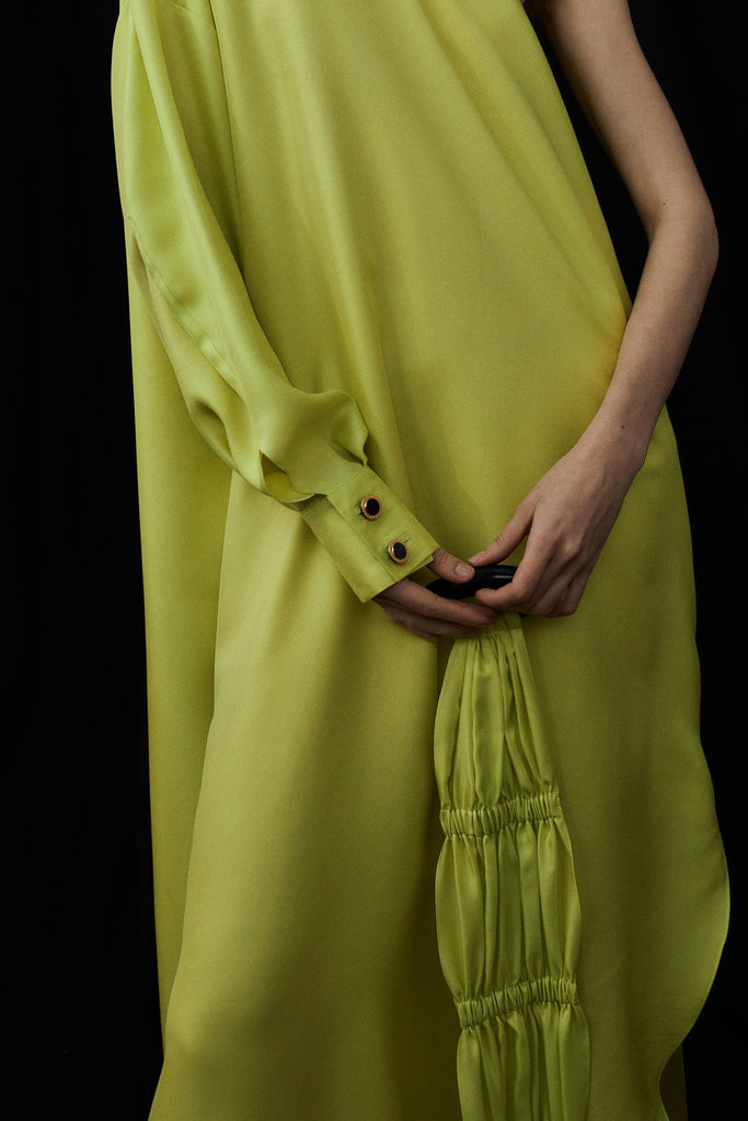 Patmos One Shoulder Silk Kaftan Dress with Sash Belt