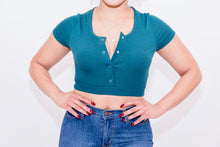 Load image into Gallery viewer, Ribbed Button Short Sleeve Crop Top