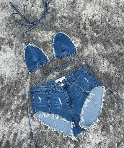 Summer time denim short set