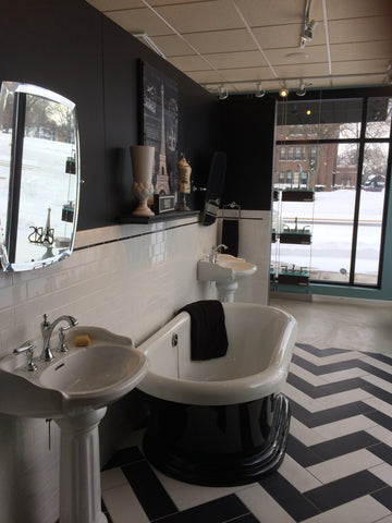 Brizo Vignette with freestanding tub, and pedestal sink.