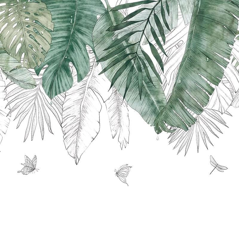 Green and White Jungle Chic Wall Decals
