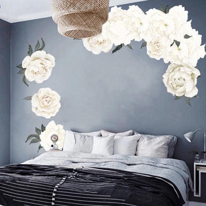 White Peonies Wall Decals