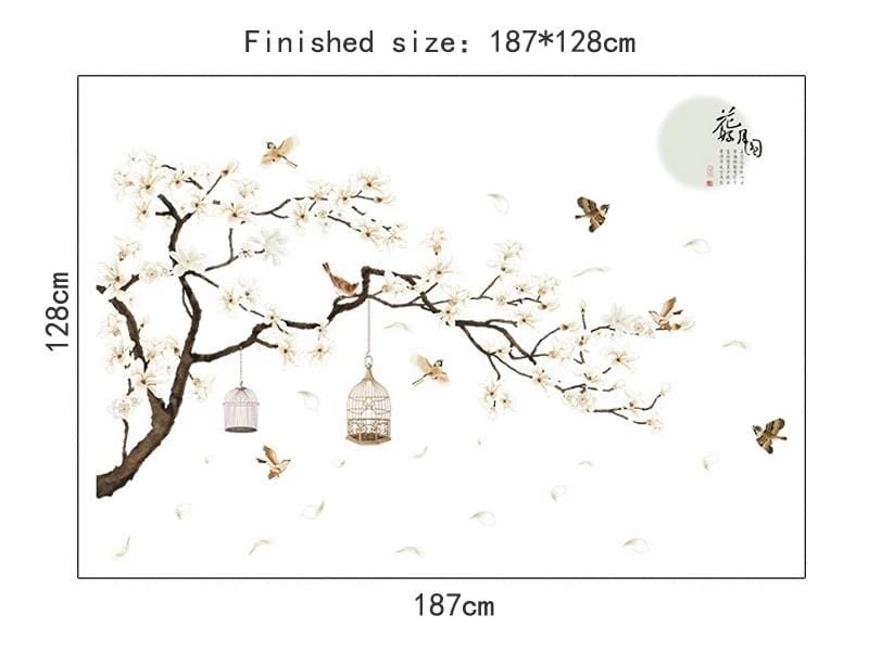 White Flower Tree Wall Decals