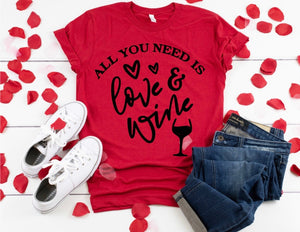 Love & Wine T-Shirt (Black Writing)