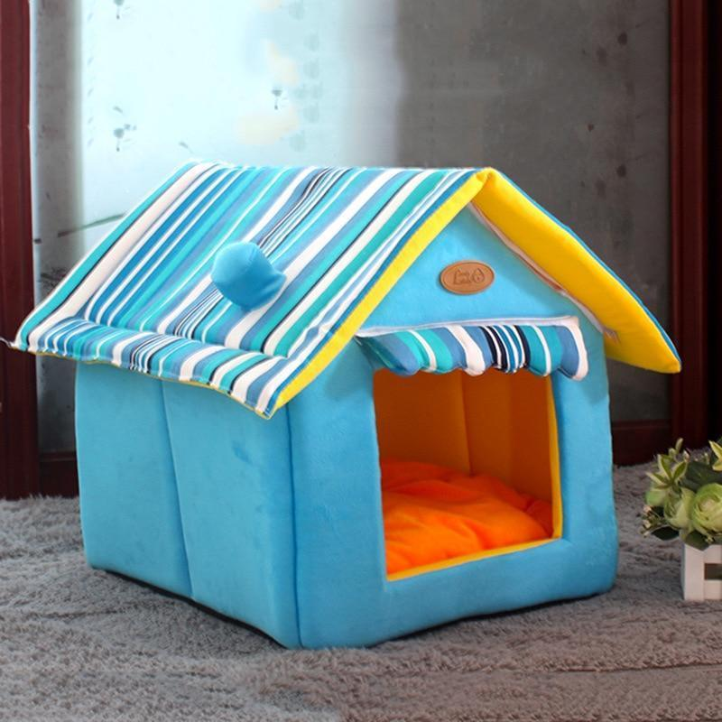 Bedding Comfy Dog House Bed (Foldable) + FREE Car Seat Belt Blue / S