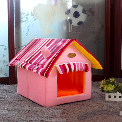 Bedding Comfy Dog House Bed (Foldable) + FREE Car Seat Belt Pink / S