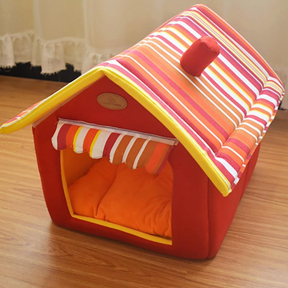 Bedding Comfy Dog House Bed (Foldable) + FREE Car Seat Belt Red / S