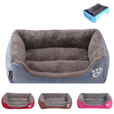 Image of Bedding Sofa Bed for Pets  (Waterproof Bottom, Multi-Layered Foam, Soft Fleece Exterior) Green / S