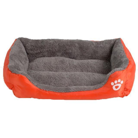Image of Bedding Sofa Bed for Pets  (Waterproof Bottom, Multi-Layered Foam, Soft Fleece Exterior) Orange / S