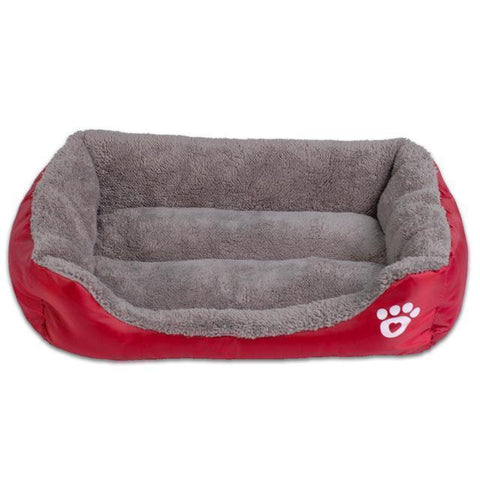 Bedding Sofa Bed for Pets  (Waterproof Bottom, Multi-Layered Foam, Soft Fleece Exterior) Wine Red / S