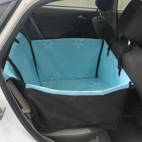 Carriers Anti-Fur Seat Cover-Pet Carrier Dog Car  Back Seat Carrier Cover Pet Dog Mat Blanket Blue flower