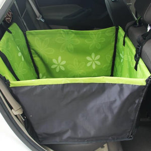 Carriers Anti-Fur Seat Cover-Pet Carrier Dog Car  Back Seat Carrier Cover Pet Dog Mat Blanket Green flower