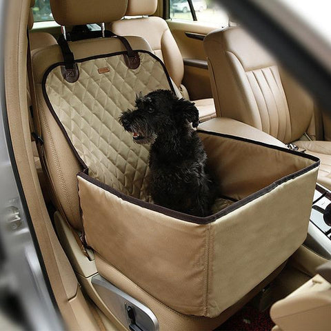 Image of Carriers Waterproof Bag Pet Car Carrier-2 In 1 Fold able Waterproof Dog Pet Car Carriers Storage Bags Beige / M