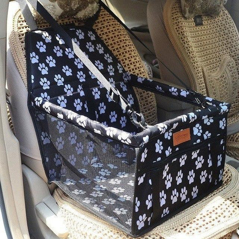 Image of Carriers Waterproof Bag Pet Car Carrier-Carrying Car Seat Pad Safe Carry Waterproof Cat Puppy Bag Travel Basket Black Paw
