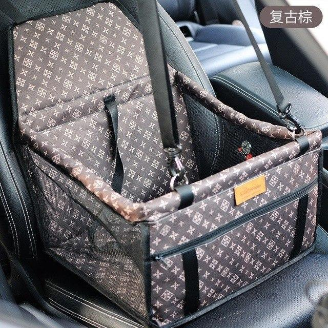 Carriers Waterproof Bag Pet Car Carrier-Carrying Car Seat Pad Safe Carry Waterproof Cat Puppy Bag Travel Basket Brown