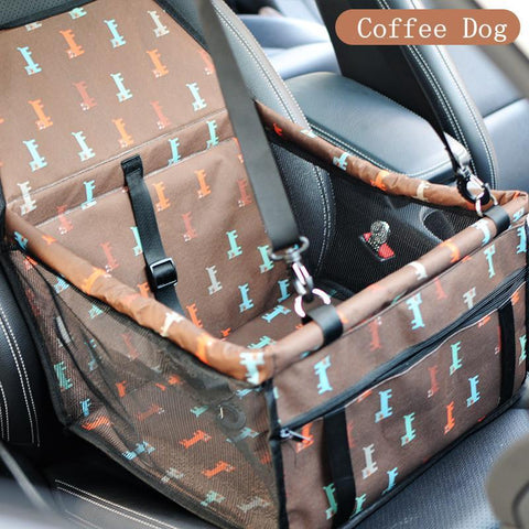 Image of Carriers Waterproof Bag Pet Car Carrier-Carrying Car Seat Pad Safe Carry Waterproof Cat Puppy Bag Travel Basket Brown Dogs