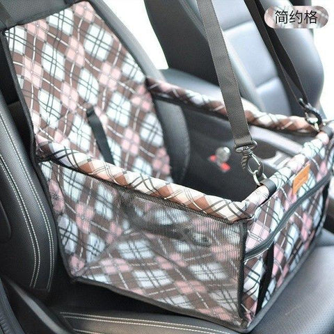 Image of Carriers Waterproof Bag Pet Car Carrier-Carrying Car Seat Pad Safe Carry Waterproof Cat Puppy Bag Travel Basket Brown Grid