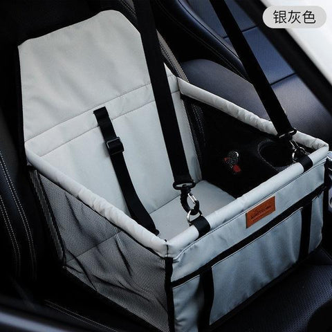 Image of Carriers Waterproof Bag Pet Car Carrier-Carrying Car Seat Pad Safe Carry Waterproof Cat Puppy Bag Travel Basket Grey
