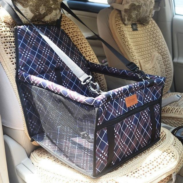 Carriers Waterproof Bag Pet Car Carrier-Carrying Car Seat Pad Safe Carry Waterproof Cat Puppy Bag Travel Basket Navy Grid