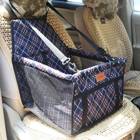 Image of Carriers Waterproof Bag Pet Car Carrier-Carrying Car Seat Pad Safe Carry Waterproof Cat Puppy Bag Travel Basket Navy Grid