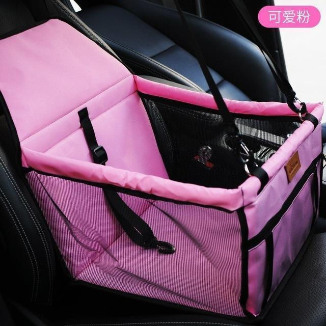 Carriers Waterproof Bag Pet Car Carrier-Carrying Car Seat Pad Safe Carry Waterproof Cat Puppy Bag Travel Basket Pink