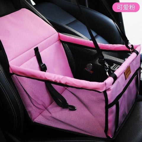 Image of Carriers Waterproof Bag Pet Car Carrier-Carrying Car Seat Pad Safe Carry Waterproof Cat Puppy Bag Travel Basket Pink