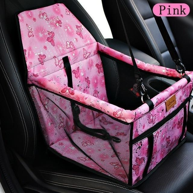 Carriers Waterproof Bag Pet Car Carrier-Carrying Car Seat Pad Safe Carry Waterproof Cat Puppy Bag Travel Basket Pink Butterfly