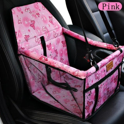 Image of Carriers Waterproof Bag Pet Car Carrier-Carrying Car Seat Pad Safe Carry Waterproof Cat Puppy Bag Travel Basket Pink Butterfly