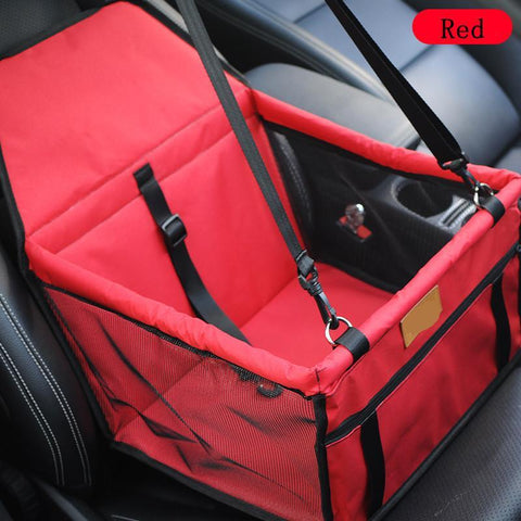 Image of Carriers Waterproof Bag Pet Car Carrier-Carrying Car Seat Pad Safe Carry Waterproof Cat Puppy Bag Travel Basket Red