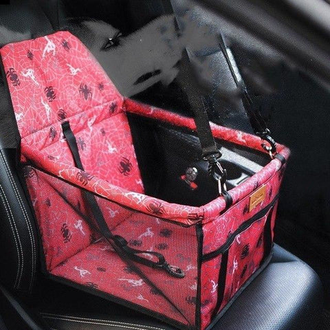 Image of Carriers Waterproof Bag Pet Car Carrier-Carrying Car Seat Pad Safe Carry Waterproof Cat Puppy Bag Travel Basket Red Spider