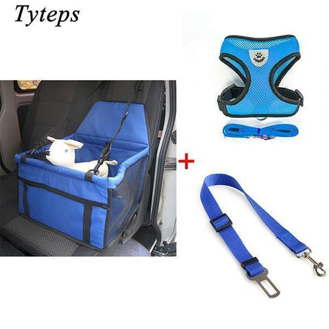 Carriers Waterproof Bag Pet Car Carrier-Pet Carrier Dog Seat Mesh Breathable Outdoor Travel Car Front Seat Cover Blue Bundle 2 / S