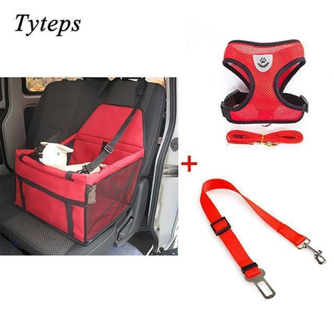 Carriers Waterproof Bag Pet Car Carrier-Pet Carrier Dog Seat Mesh Breathable Outdoor Travel Car Front Seat Cover Red Bundle 2 / S