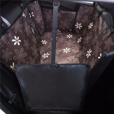 Image of Carriers Waterproof Dog Hammock Car Seat Cover + FREE Seat Belt Brown Flower