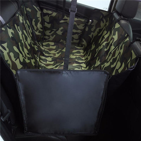 Image of Carriers Waterproof Dog Hammock Car Seat Cover + FREE Seat Belt Camouflage