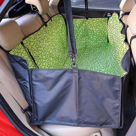 Image of Carriers Waterproof Dog Hammock Car Seat Cover + FREE Seat Belt Green Cloud