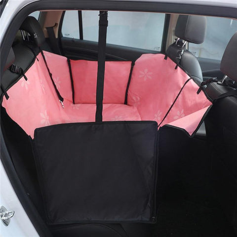 Image of Carriers Waterproof Dog Hammock Car Seat Cover + FREE Seat Belt Pink Flower