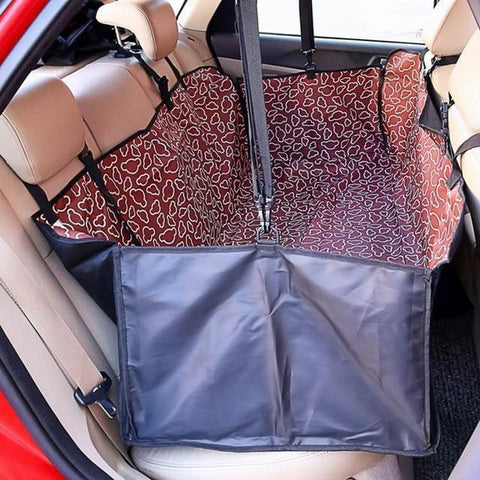 Image of Carriers Waterproof Dog Hammock Car Seat Cover + FREE Seat Belt Red Cloud