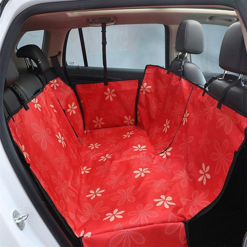 Image of Carriers Waterproof Dog Hammock Car Seat Cover + FREE Seat Belt Red Flower
