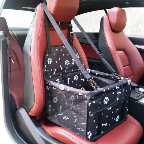 Image of Carriers Waterproof Pet Folding Car Seat Carrier Basket Black Paws Skull