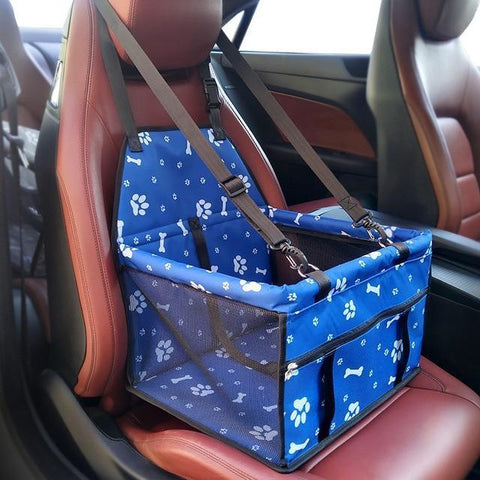 Image of Carriers Waterproof Pet Folding Car Seat Carrier Basket Blue Paws Skull