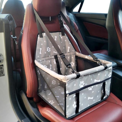 Image of Carriers Waterproof Pet Folding Car Seat Carrier Basket Grey Paws Skull