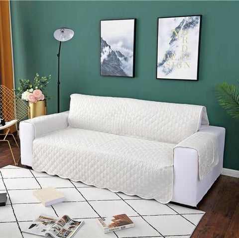 Image of Carriers Waterproof Pets Sofa Cover - Reversible And Washable Couch Protector White / Three Seater