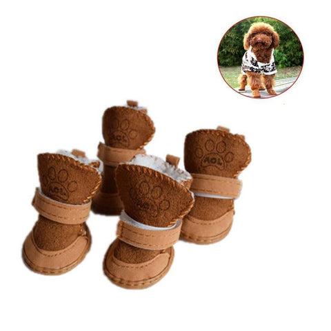 Image of Clothing and Accessories Pet Shoes-Winter Warm Shoes Boots Snow Walking Cotton  For Pets Khaki / S