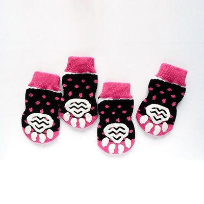 Clothing and Accessories Pet Socks-Warm  Soft Acrylic Pet Knit Happy Socks Cute Cartoon Non-slip Socks Rose Red / S