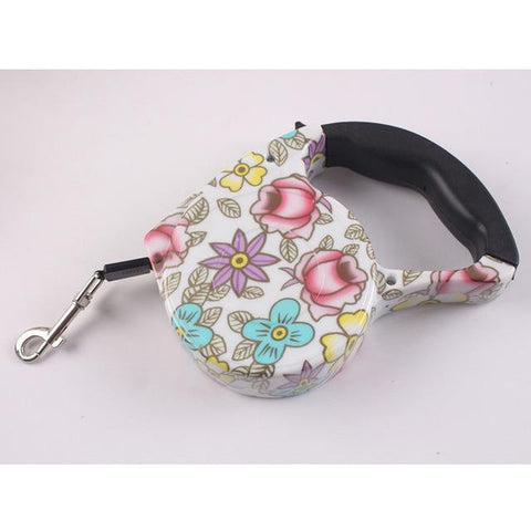 Collars and Leashes Automatic Dog Collar Retractable Leash Flowers