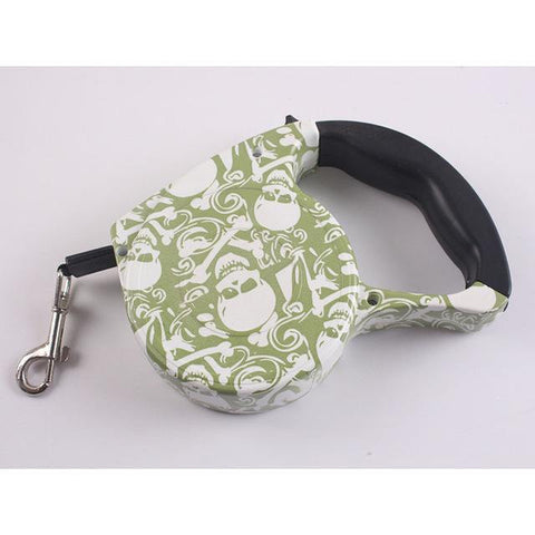 Collars and Leashes Automatic Dog Collar Retractable Leash Green Leaves