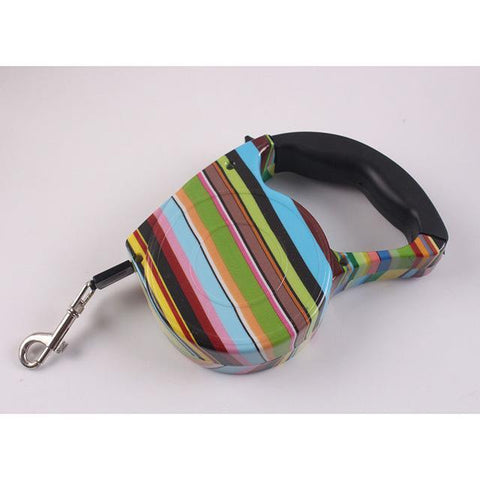 Collars and Leashes Automatic Dog Collar Retractable Leash Rainbow